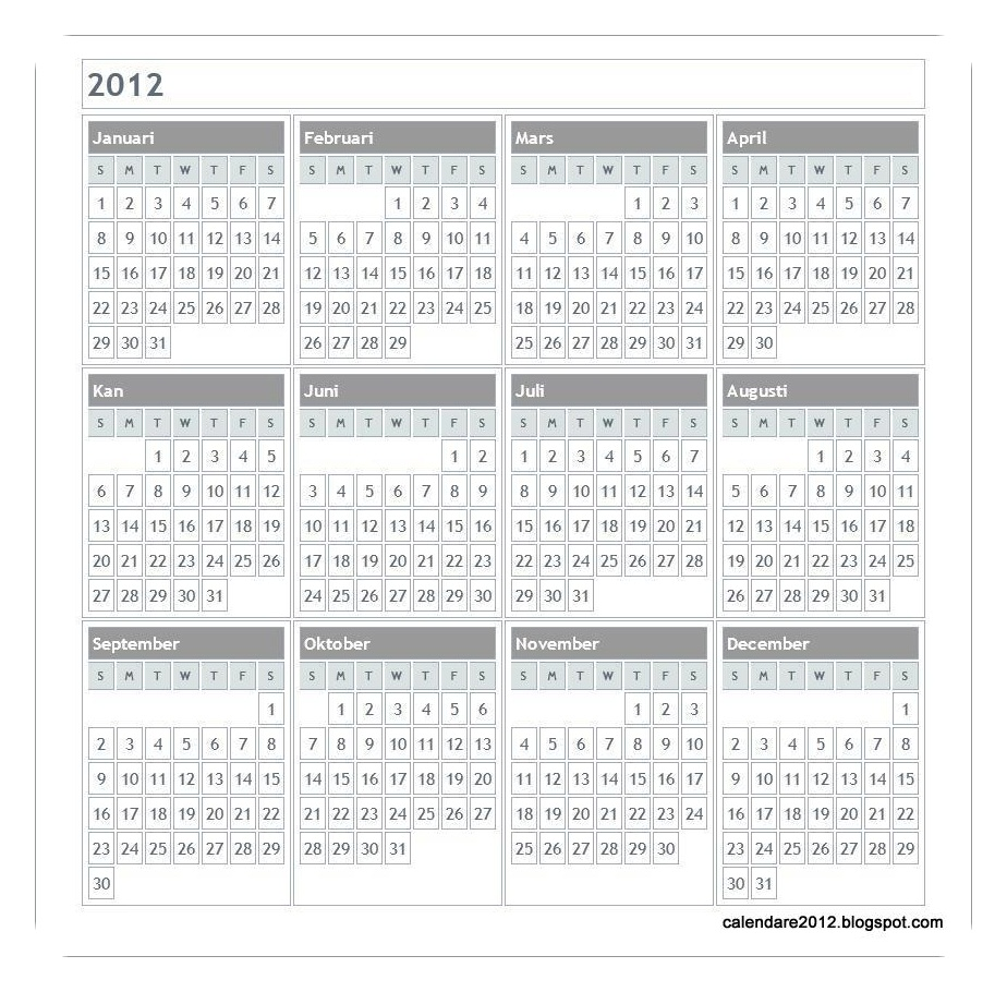 Calendare 2012: Calendar 2012 in limba romana