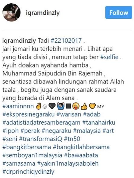 Selfie Di Kubur Ayah, Tindakan Iqram Dinzly Dipersoal Netizen