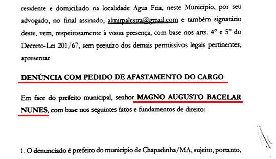 Pedido de impeachment do prefeito de Chapadinha é protocolado na Câmara