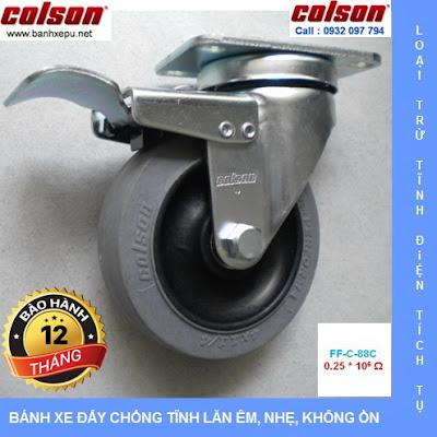 Bánh xe chống tĩnh điện Colson xoay khóa phi 100 | 2-4646-445C-BRK4 www.banhxedayhang.net
