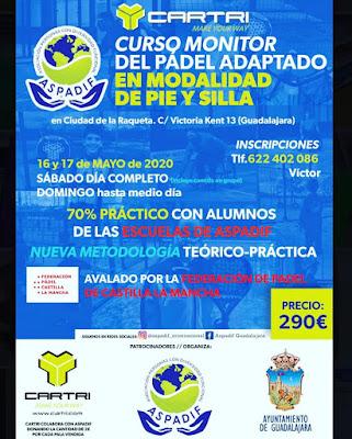 Curso Monitor Pádel Adaptado Modalidad de Pié y Silla ASPADIF el 16 y 17 de mayo en Guadalajara.