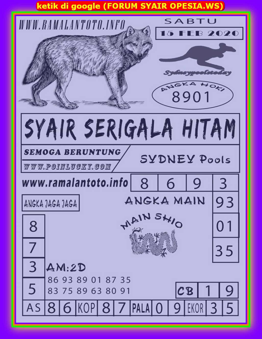 Kode syair Sydney Sabtu 15 Februari 2020 120