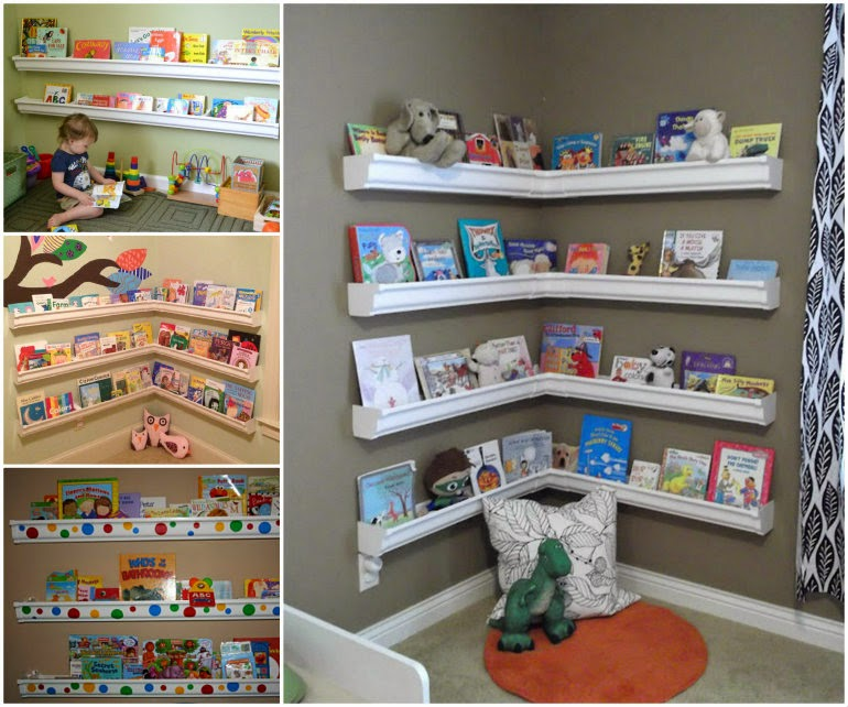 Rain Gutter Bookshelves For Kids
