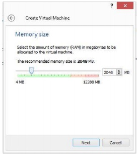 Window Pengaturan Memory untuk Virtual  Machine