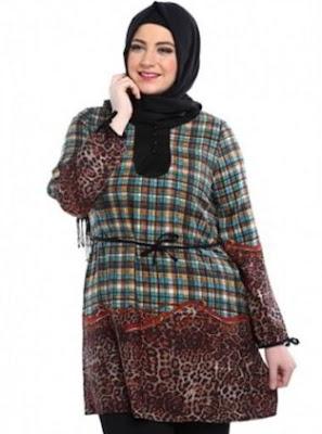 Desain baju batik wanita gemuk modis masa kini