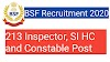 Border Security Force Recruitment 2020, Apply For 213 Inspector, SI, HC And Constable Vacancy