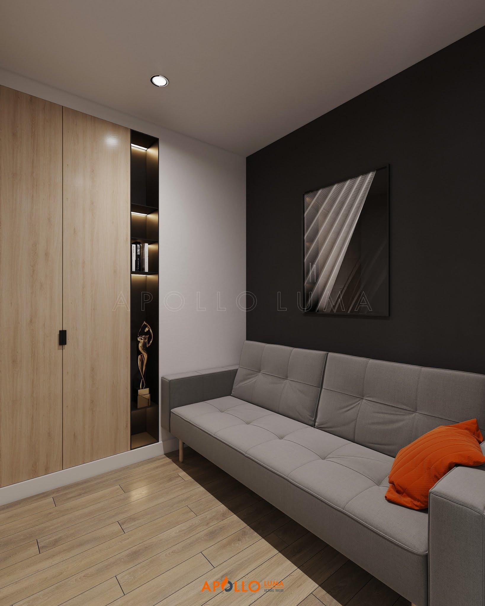 Thiết kế nội thất căn hộ 1PN+1 (43m2) S3.01-02 Vinhomes Smart City Tây Mỗ
