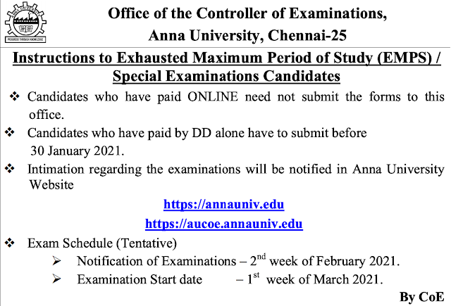 Anna University Special Exam planned to conduct on March 2021