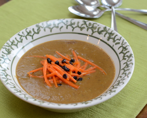 Curried Vegetable Bisque ♥ AVeggieVenture.com, made with pantry vegetables and fruits plus rich spices.