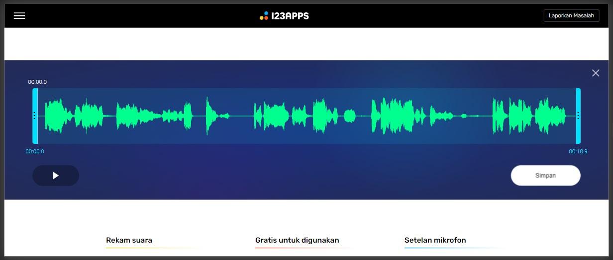 Tampilan perekam suara online