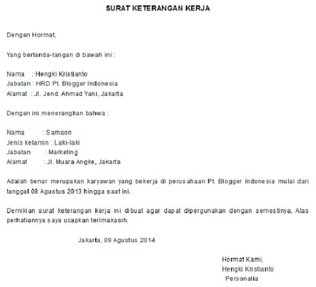 surat keterangan kerja untuk visa bahasa inggris