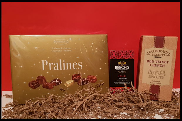 Chocolate and biscuits from a Prestige hamper
