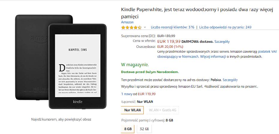 Przecena na Kindle Paperwhite 4