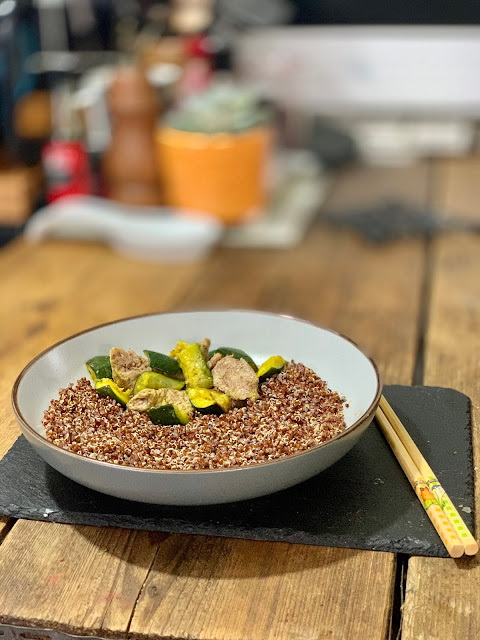 Turkey with quinoa and courgette