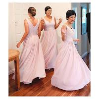 Pink Sleeveless V-Neck Chiffon Bridesmaid Dress With Pleated Bodice