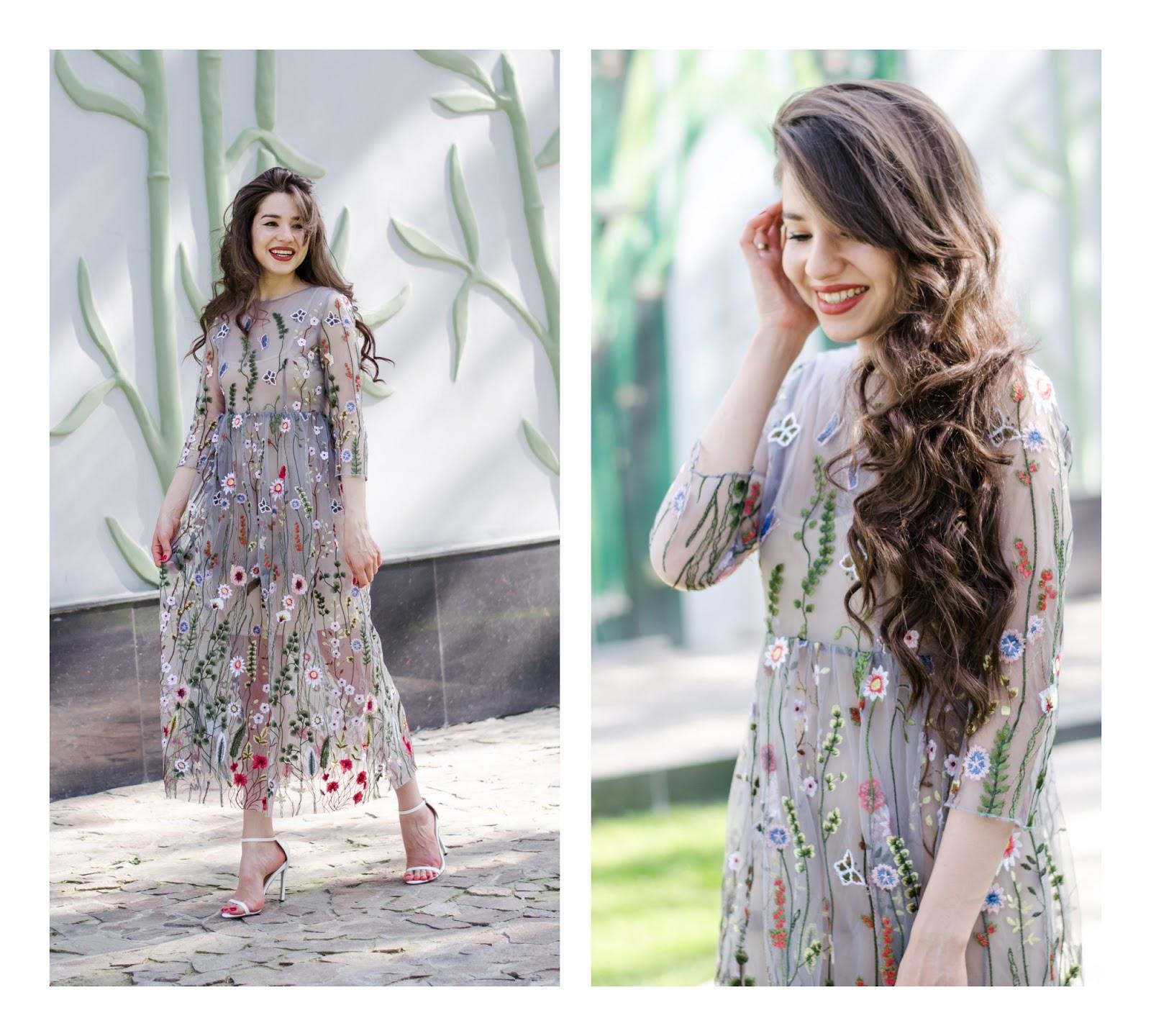 fashion blogger diyorasnotes diyora beta embroidery dress formal dress summer dress heeled sandals