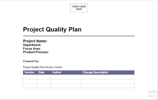 Download Project Quality Management Plan Template   in word