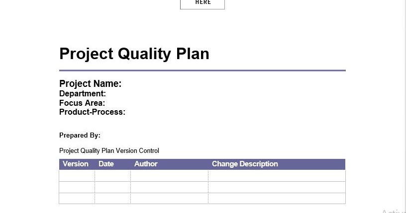 Project Quality Management Plan Template Engineering Management