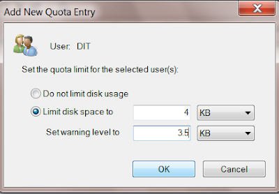 Enable Disk Quota In management
