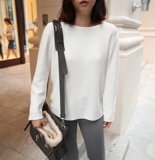 Single Tone Long Sleeve Round Neck T-Shirt