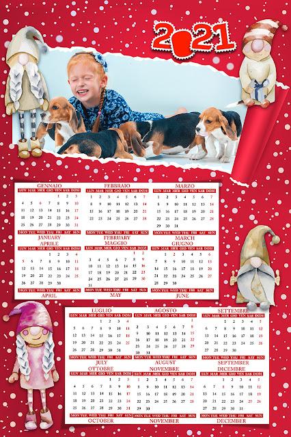 Calendario semestrale con testo inglese/italiano