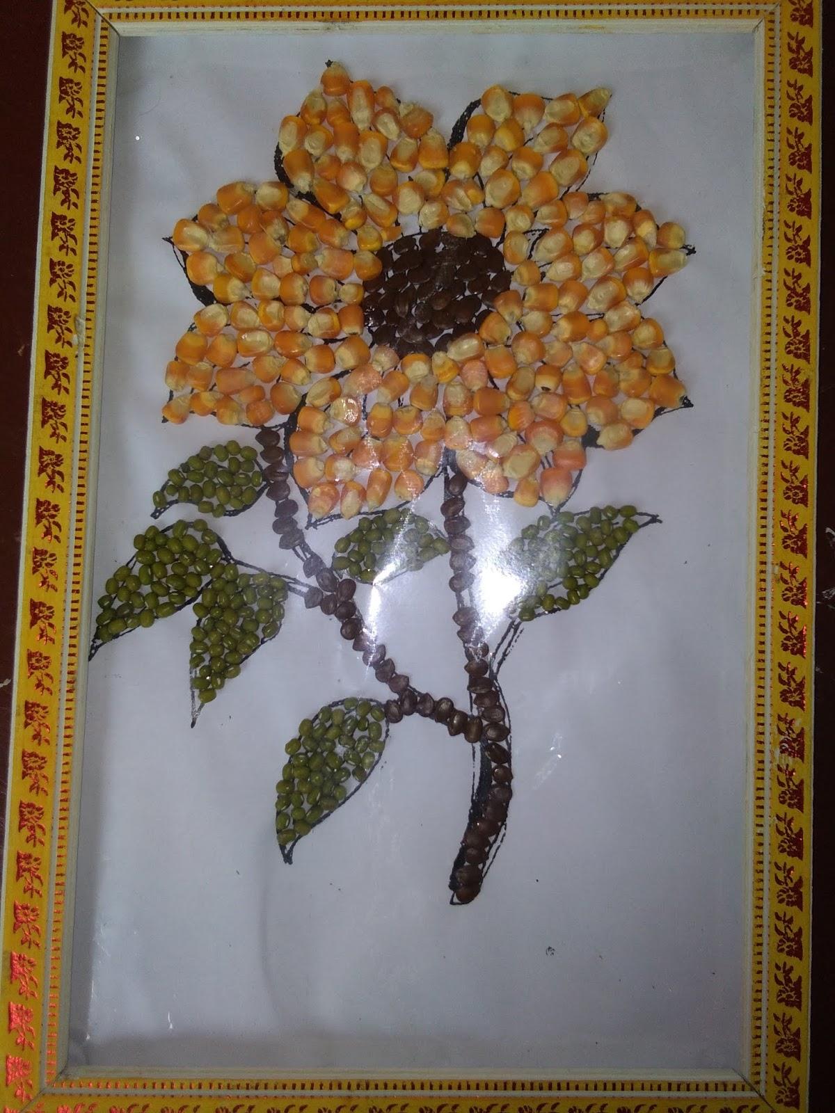 Gambar Kolase Biji Bijian Bunga Kertasbulat