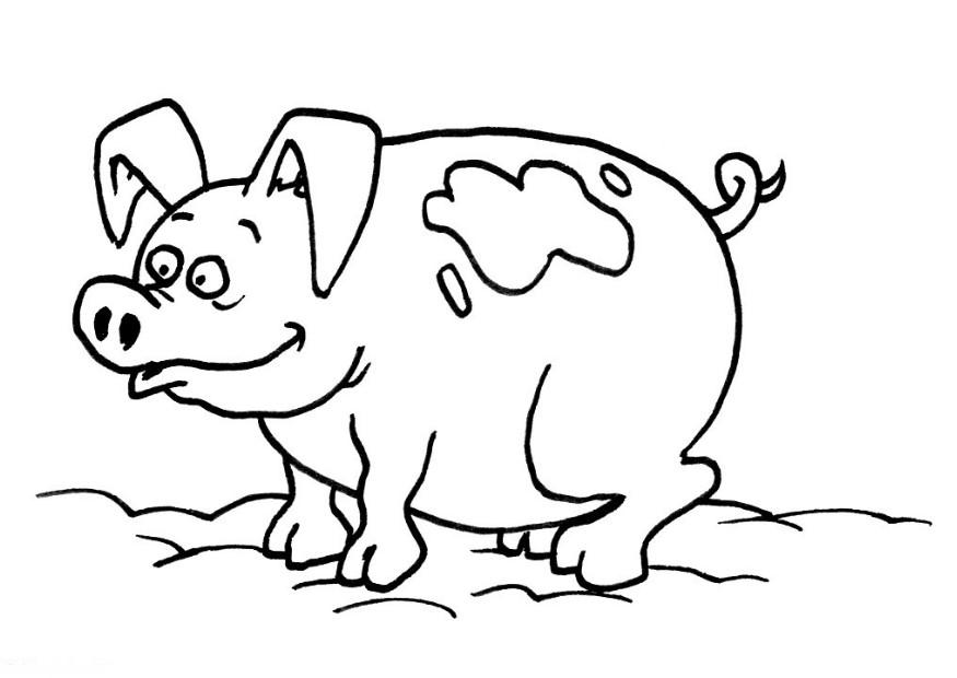 Printable cute animal pig coloring pages for kids for Pig coloring pages