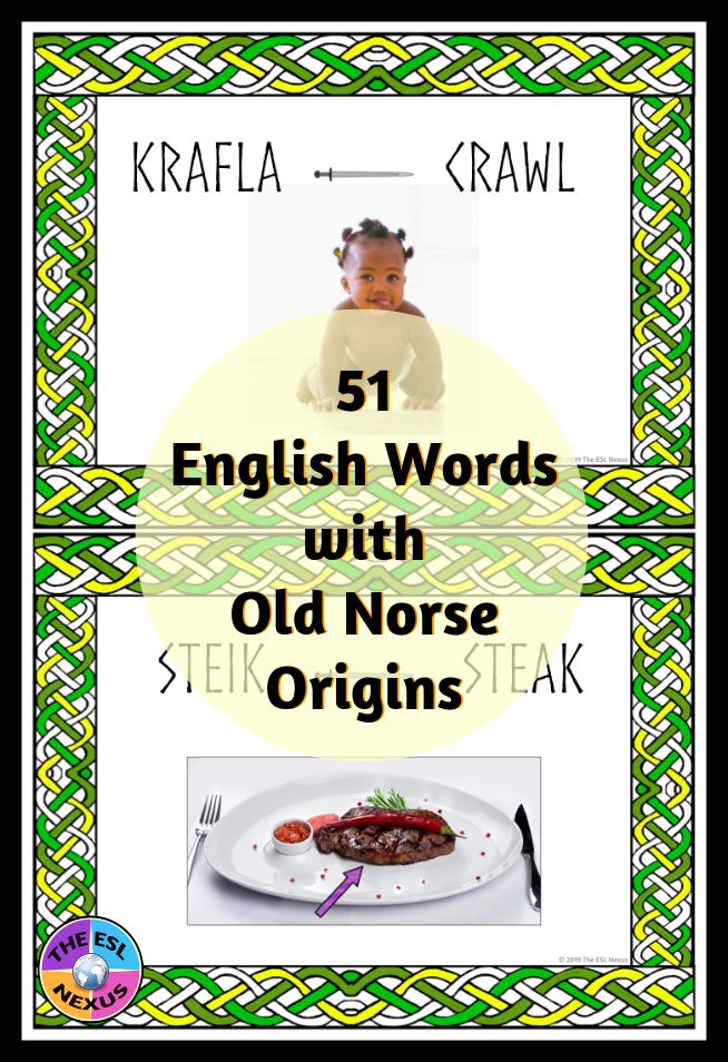 Find out about 51 English words that come from Old Norse with a new TpT resource from The ESL Nexus!