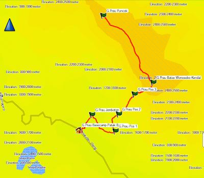 jalur gunung prau,patak banteng,GPS