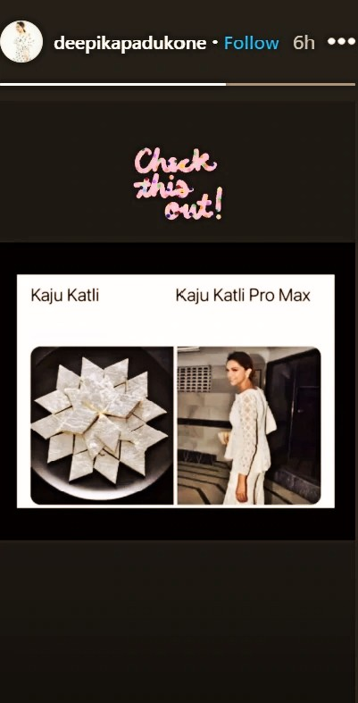 """In Pic of the day: Deepika Padukone is """"kaju katli pro max"""" in a hilarious meme about her Diwali outfit"""