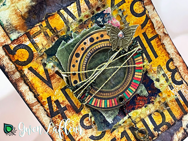 Gwen Lafleur PaperArtsy May 2021 Stamp Release - EGL16 Alphabet Mixed Media Art Closeup