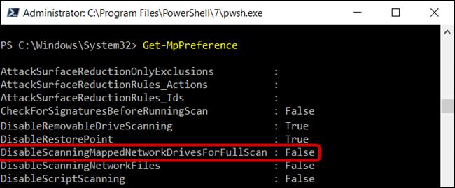 "تم تعيين ""DisableScanningMappedNetworkDrivesForFullScan"" على خطأ."
