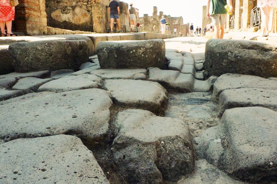 Street of Pompeii with chariot grooves on slabs