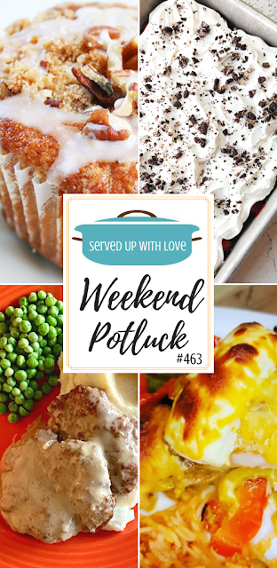 Weekend Potluck featured recipes include Cheesy Pepper Chicken, Coffee Cake Muffins, Slow Cooker Salisbury Steak, Black Forest Oreo Dessert and more.