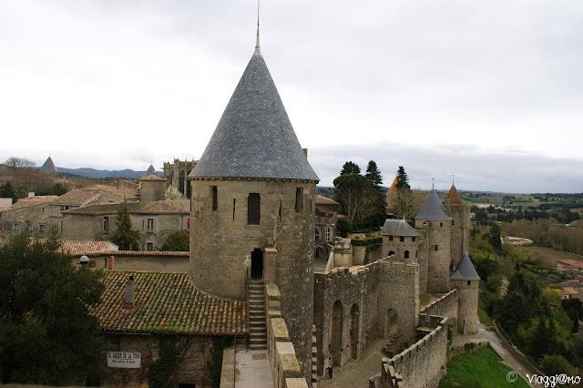 Vista della città dai camminamenti del Chateau Comtal