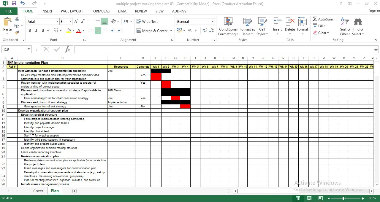 Free project implementation plan template in excel
