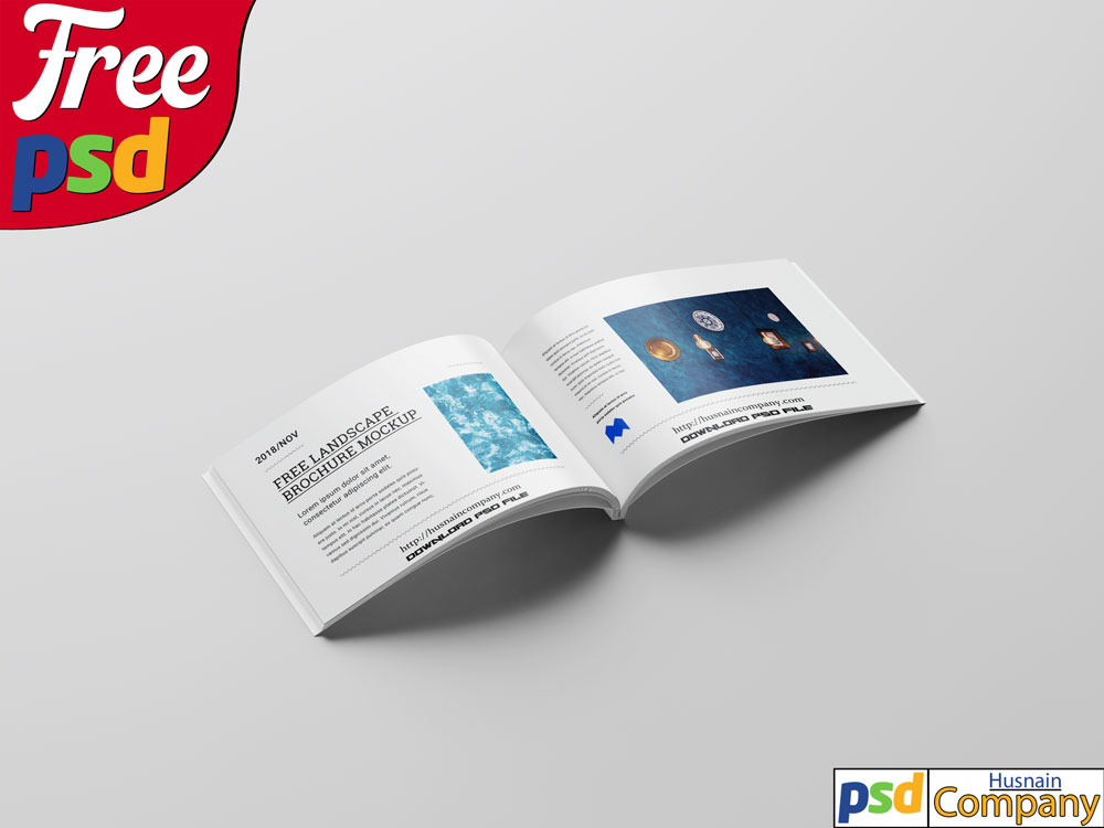 Download Free Perfect Binding Landscape Brochure PSD Mockup #1