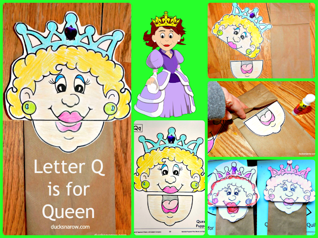 kids crafts, paper bag crafts, preschool crafts, Letter Q