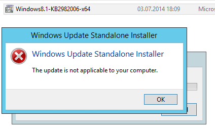 Windows 2012 R2 Update KB2982006: The update is not