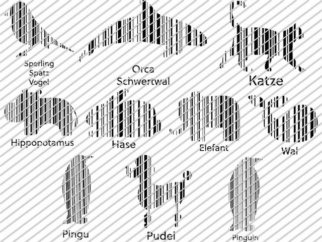 Übersicht über die Plottdesigns im Set Barcode Animals 2 von Lalillyherzileien