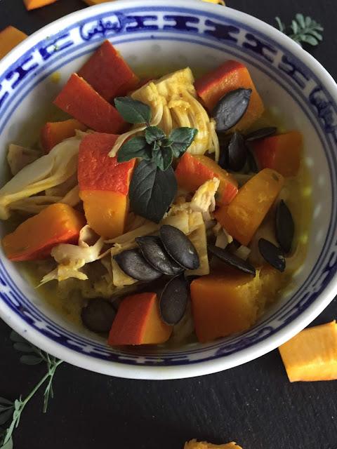 Kokosnuss-Kürbis-Bowl mit Jackfruit, Rezept glutenfrei & vegan, Tropicai, Minimalismus: Zubereitung einfach + schnell, Healthy Food Style