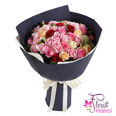 Pink rose bouquet delivery Hanoi