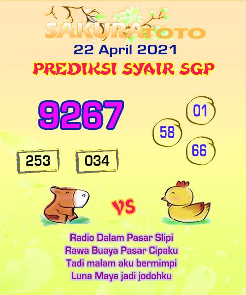 Syair SGP Kamis 22 April 2021 -