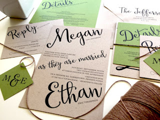 vohandmade etsy wedding invitation cursive natural colors