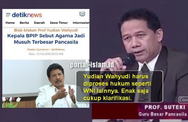 Prof. Suteki: Kepala BPIP Harus Diproses Hukum, Enak Saja Cukup Klarifikasi