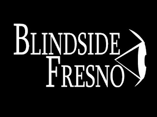 The logo is white on a black background, the words Blindside Fresno take the center while to the right is an outline image of an eye complete with eyelids looking off to the right.