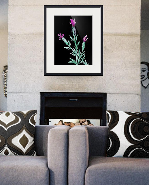 Lavender Botanical Watercolor Flower painting in interior decor