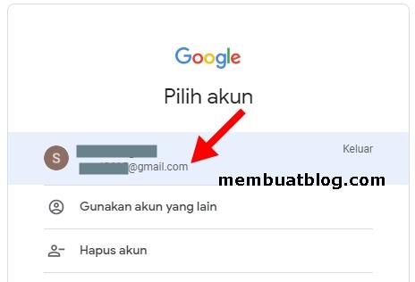 Pilih email gmail yang akan digunakan untuk membuat blog