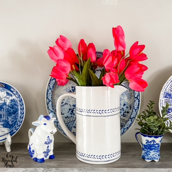spring tulips flowers pitchers vase plates