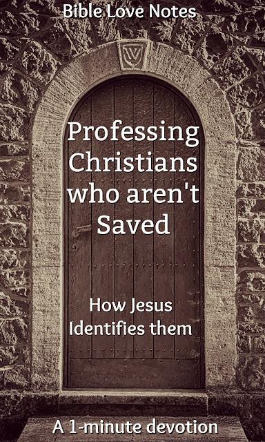 "Matthew 7 talks about professing Christians who aren't saved. 1 Corinthians 3 talks about professing Christians who are ""barely saved."" This 1-minute devotion explains. #BibleLoveNotes #Bible #Salvation #Devotions"